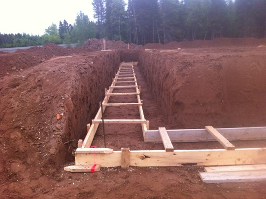 Steps in construction of residential building for Basement foundations construction